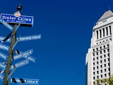 Sister Cities of Los Angeles street sign at City Hall