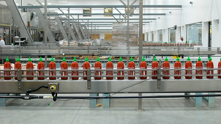Sriracha bottling line at Huy Fong Foods
