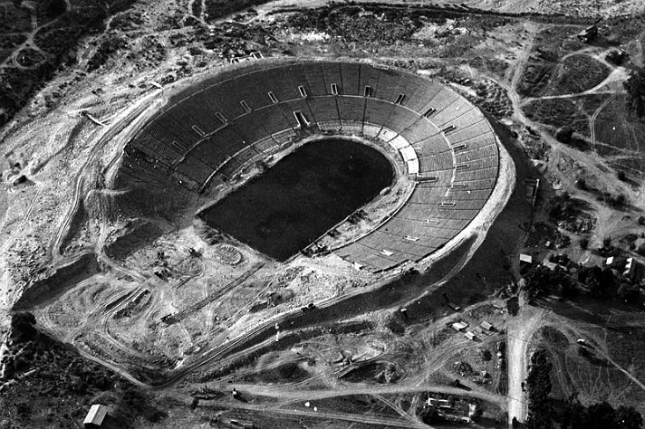 Rose Bowl Stadium under construction in 1921