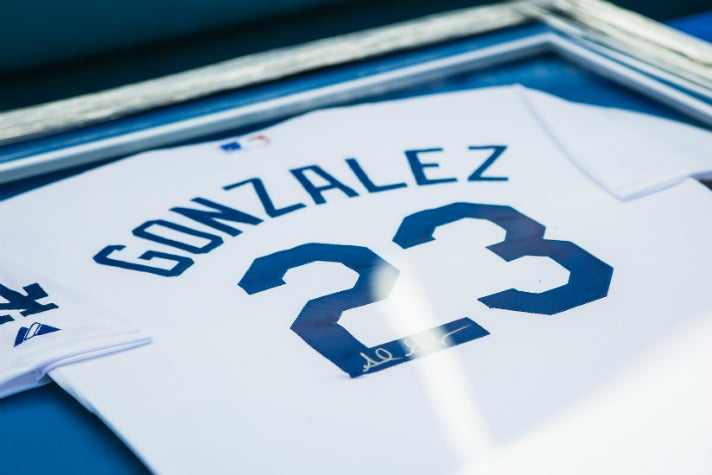 Autographed Adrian Gonzalez jersey at Dodgers All-Access 2015