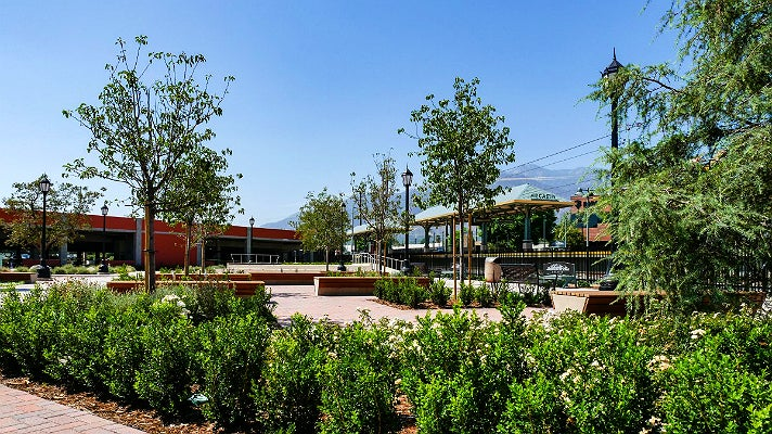 The plaza at the Gold Line Foothill Extension Arcadia Station