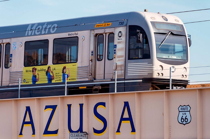 Test train on the Metro Gold Line Foothill Extension