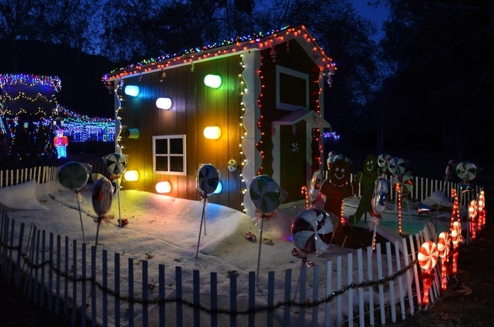 Decorations line the 1-mile miniature train track in Griffith Park.
