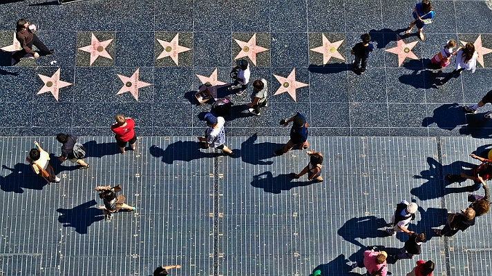 Hollywood Walk of Fame viewed from above