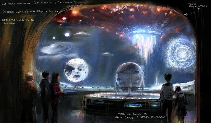 "Concept illustration of Imaginary Worlds gallery from ""Where Dreams Are Made"" at Academy Museum"