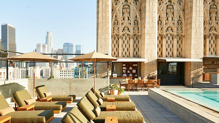 Rooftop pool at the Ace Hotel Downtown Los Angeles