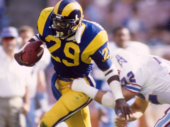 Eric Dickerson broke the NFL single-season rushing record against the Houston Oilers