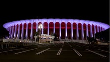 The Forum exterior at night
