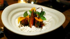 Carrots, coconut ice, cardamom soil, pea tendril mojo at ink.