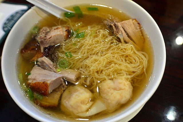 Wonton and roast duck noodle soup at Sam Woo