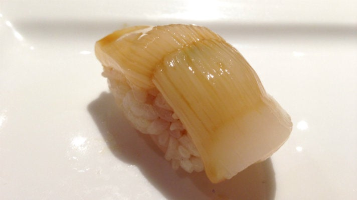 Scallop brushed with soy sauce at Sushi Chitose