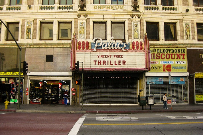 """""""Thriller"""" marquee sign at The Palace Theatre"""
