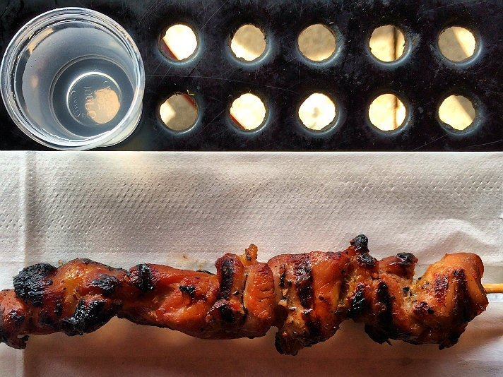 BBQ chicken skewer at Arko Foods Market