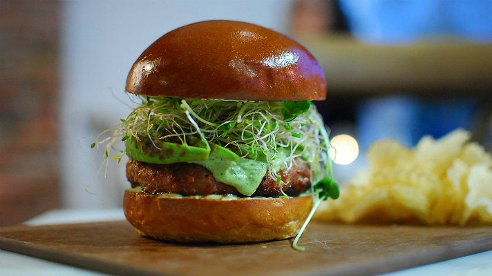 Turkey burger at Olive & Thyme