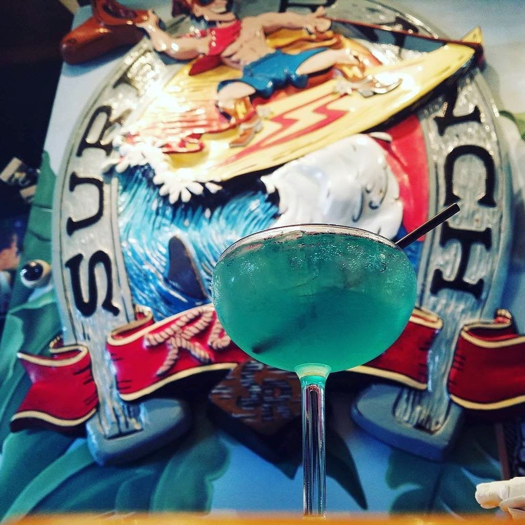 Blue Iguana Margarita at Rusty's Surf Ranch in Santa Monica