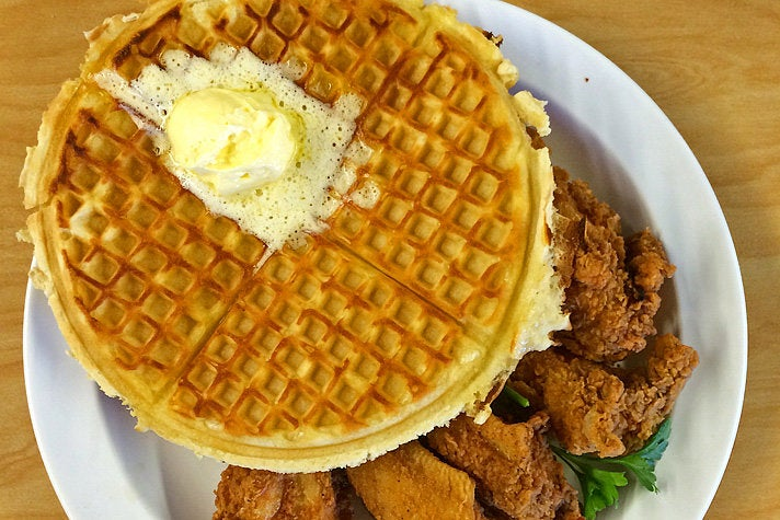 """The Cookie"" with waffles and chicken wings at The Serving Spoon"